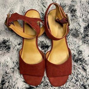 Megan Quarter-Strap Microsuede Heeled Sandal
